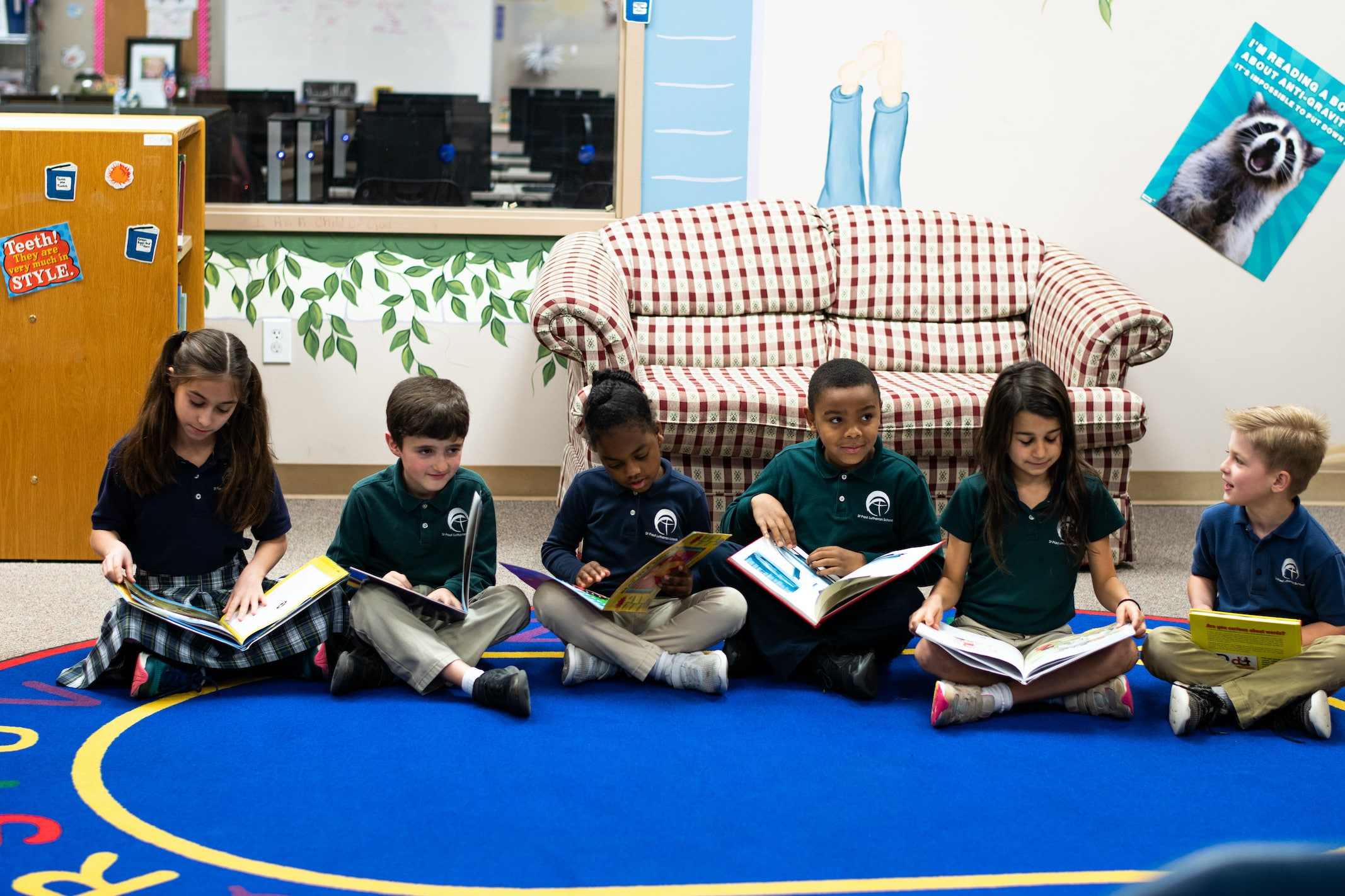 pupils reading their books