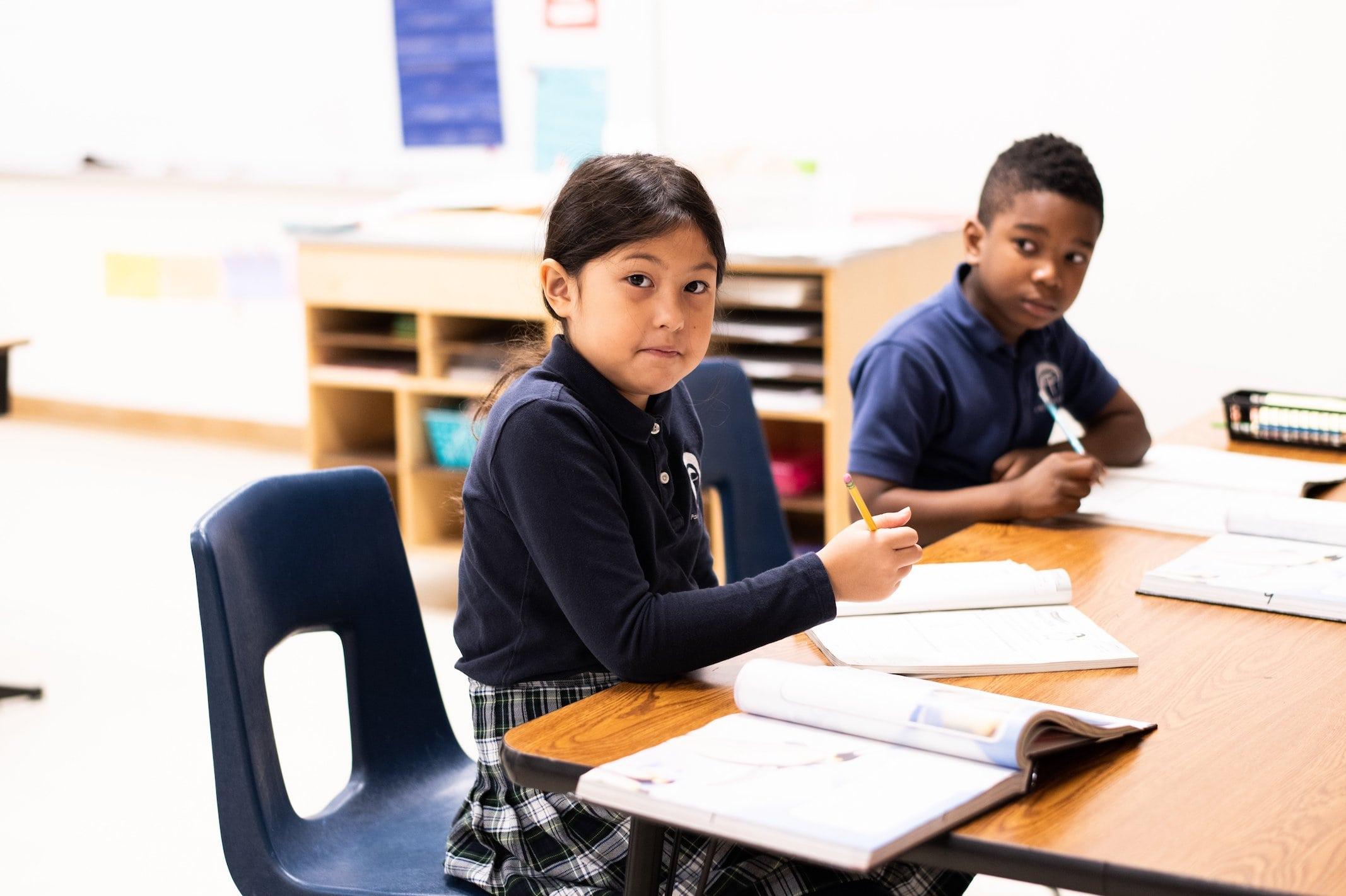 pupils writing homework